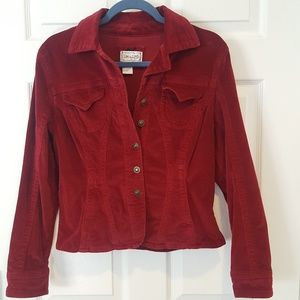 Dark red-wine colored jacket.